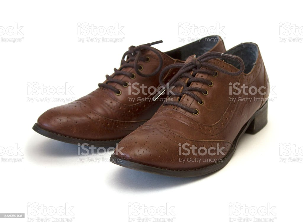 Brown leather fashion oxford shoes stock photo