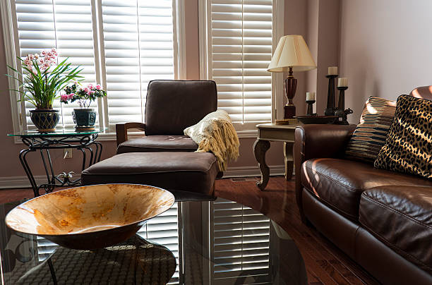 Brown Leather Furniture stock photo