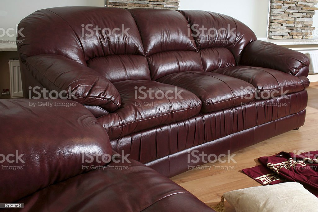 Brown leather furniture royalty-free stock photo