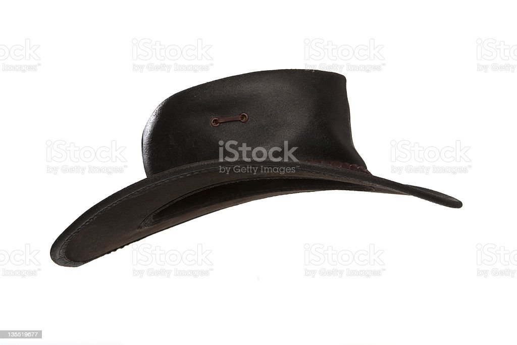 Brown leather hat stock photo