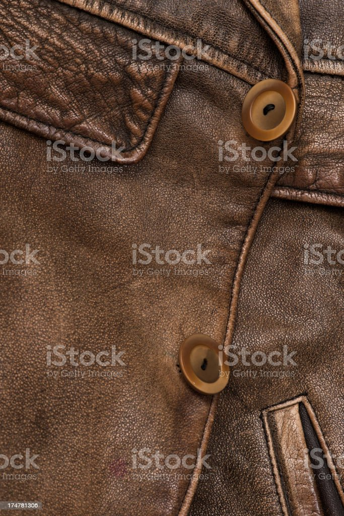 Brown leather jacket detail royalty-free stock photo