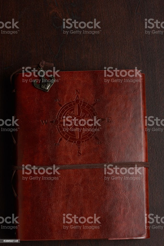 Brown leather journal stock photo