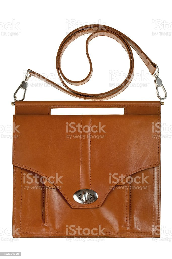 brown leather lady's bag stock photo