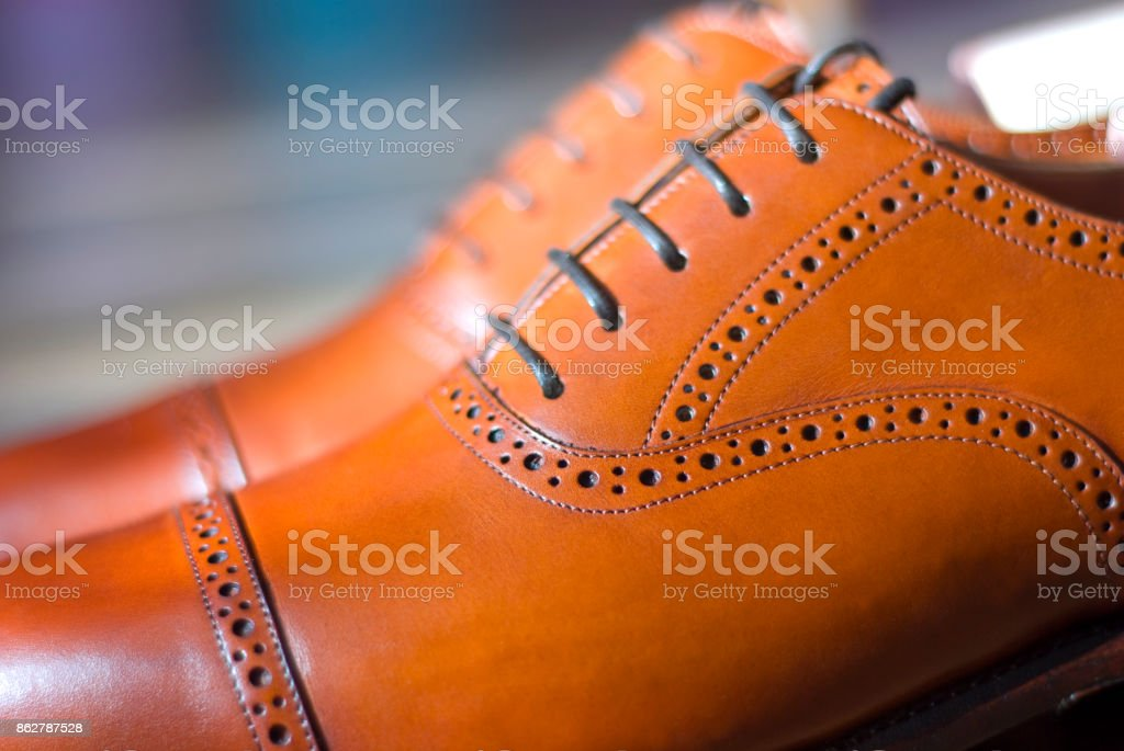 Brown leather men's oxfords stock photo