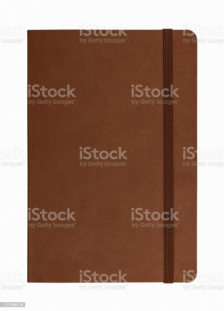 brown leather notebook isolated on white background stock photo