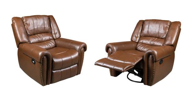 braun leder sessel stuhl isoliert auf weißem hintergrund - ledersessel braun stock-fotos und bilder