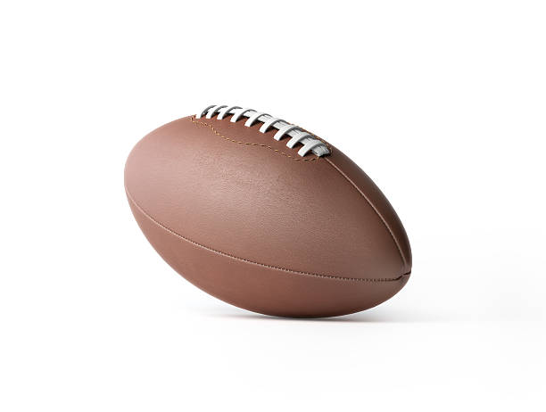 brown leather rugby ball isolated on white - rugby ball stock photos and pictures