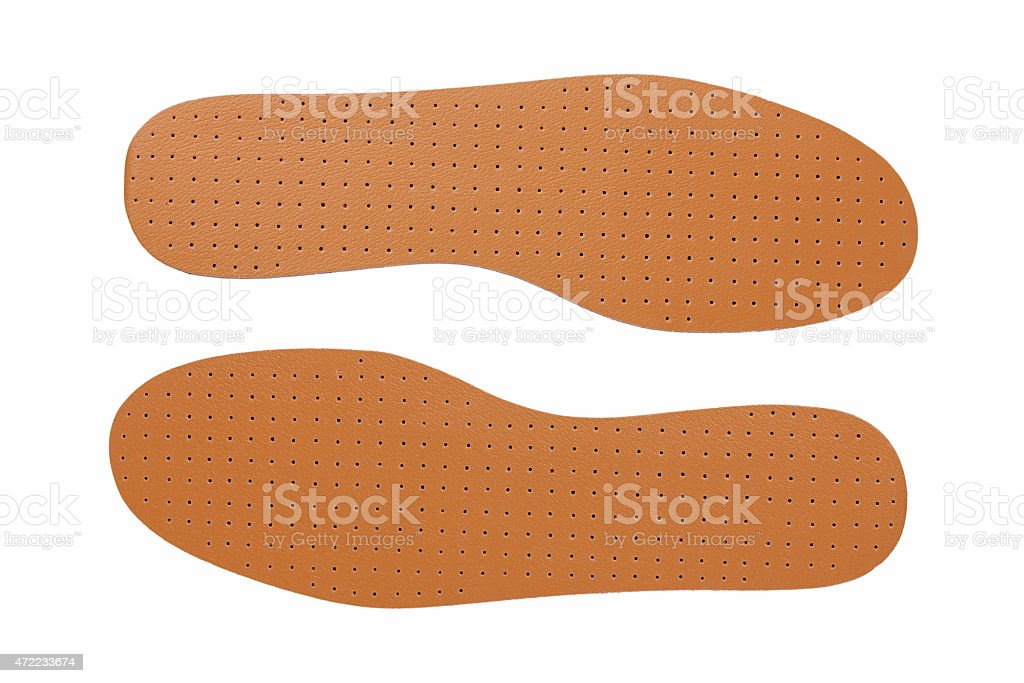 Brown leather shoe insoles stock photo