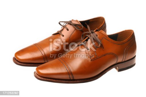 Pair of brown leather shoes isolated on a white background.