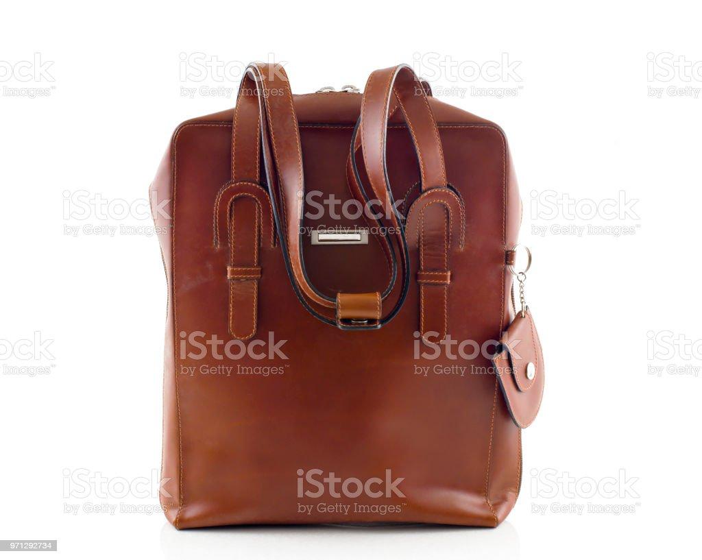 bolsa de ombro de couro marrom isolada no fundo branco - foto de acervo