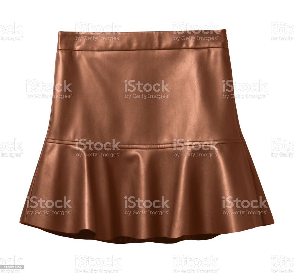 Brown leather skirt with flounce isolated on white stock photo