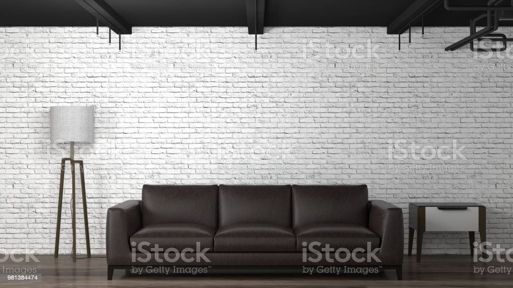 Brown Leather Sofa In Front Of A White Brick Wall 3d Illustration