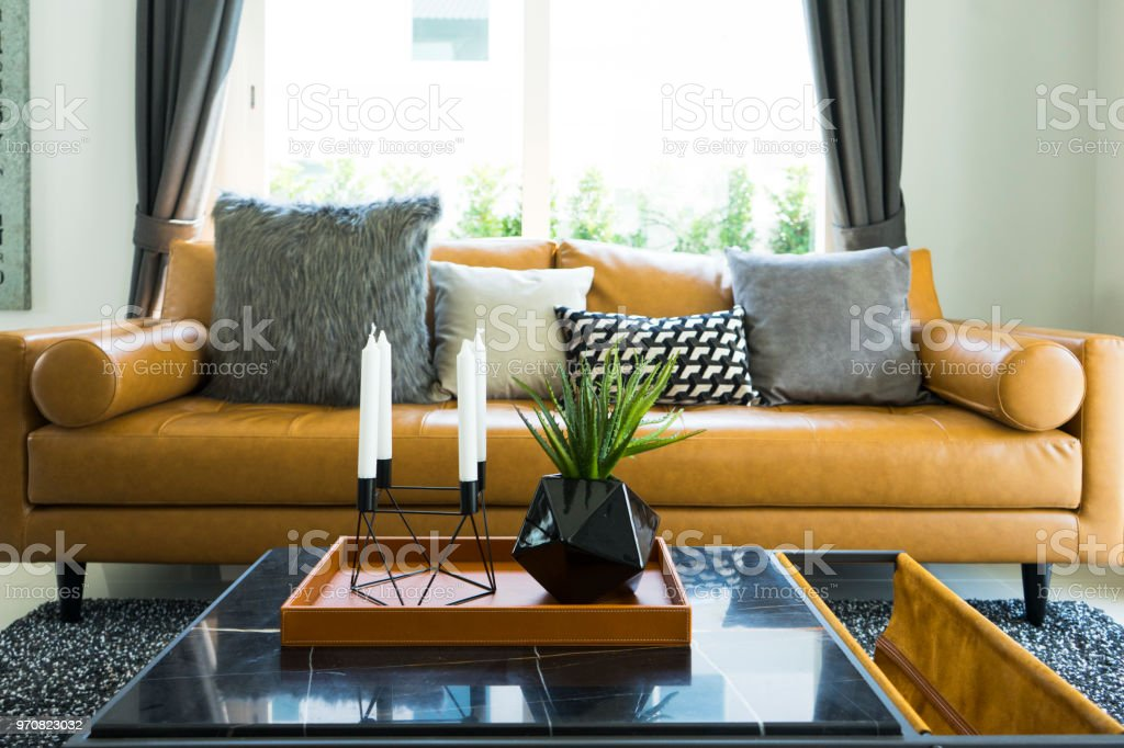 Brown Leather Sofa In Living Room Stock Photo Download Image Now Istock