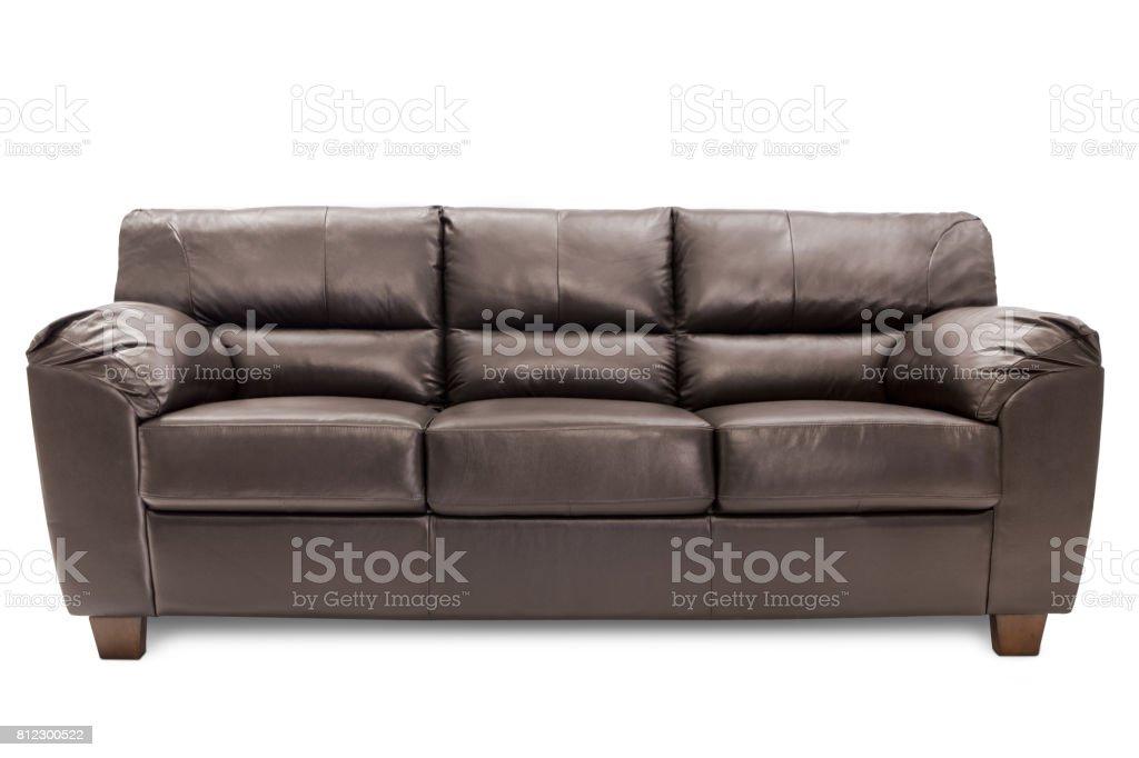 Sofá de cuero marrón - foto de stock