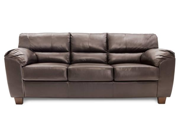 brown leather sofa stock photo