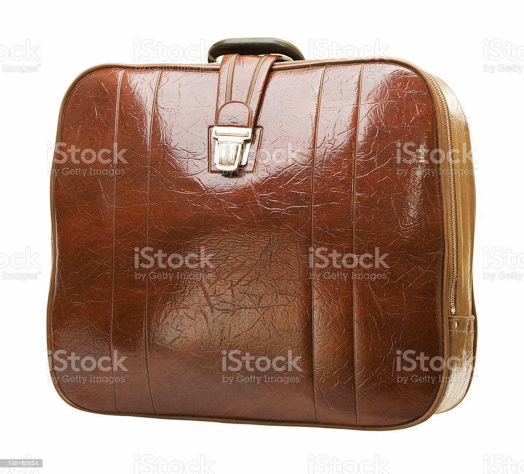 Brown leather suitcase royalty-free stock photo
