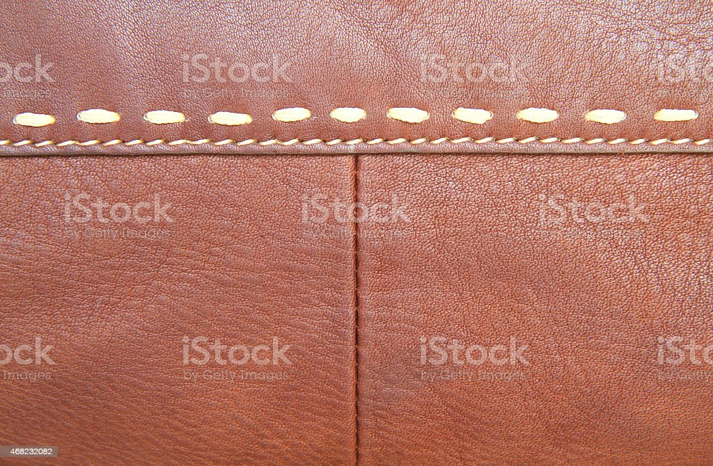 Brown leather texture and stitch stock photo