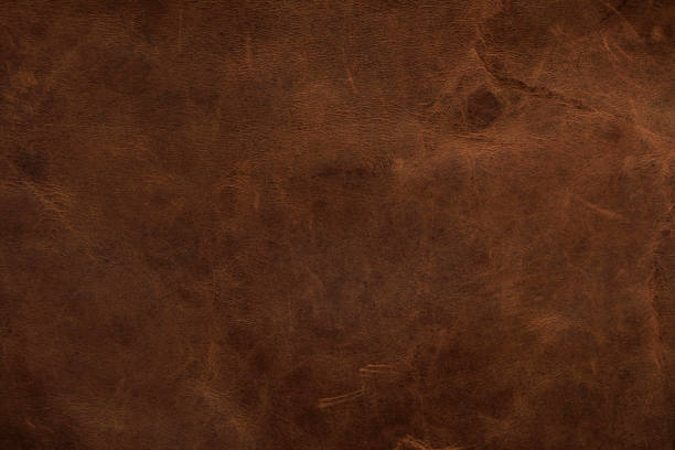 Brown leather texture background, genuine leather stock photo