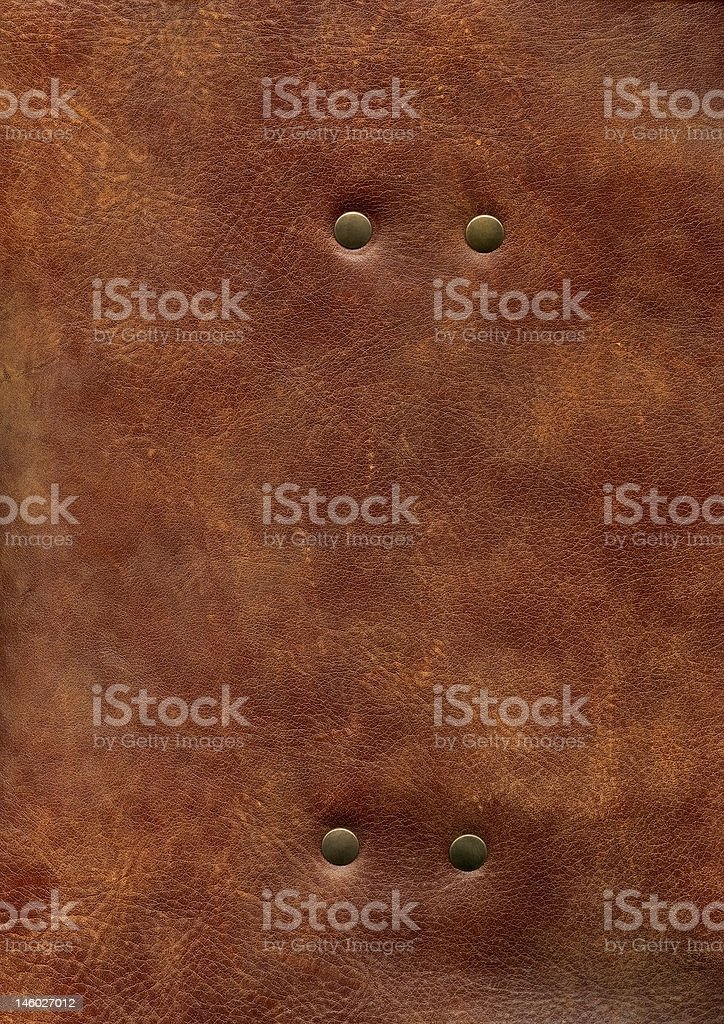 HQ brown leather texture with rivet royalty-free stock photo