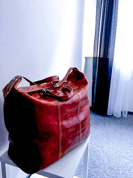Brown Leather Travel Bag in a white room ストックフォト