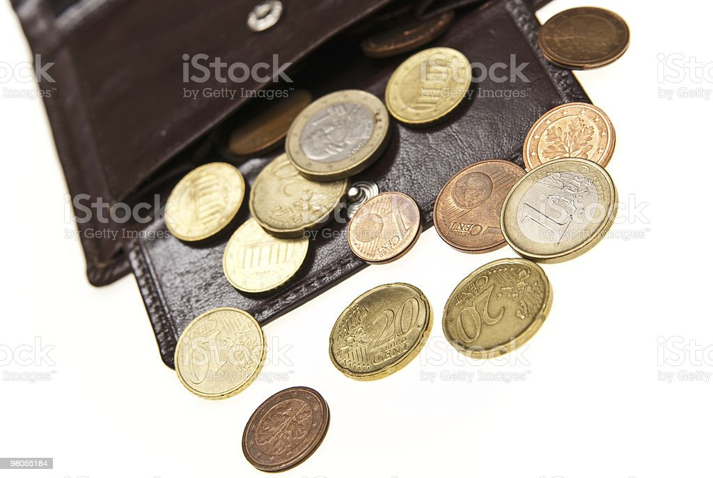brown leather wallet and coins royalty-free stock photo