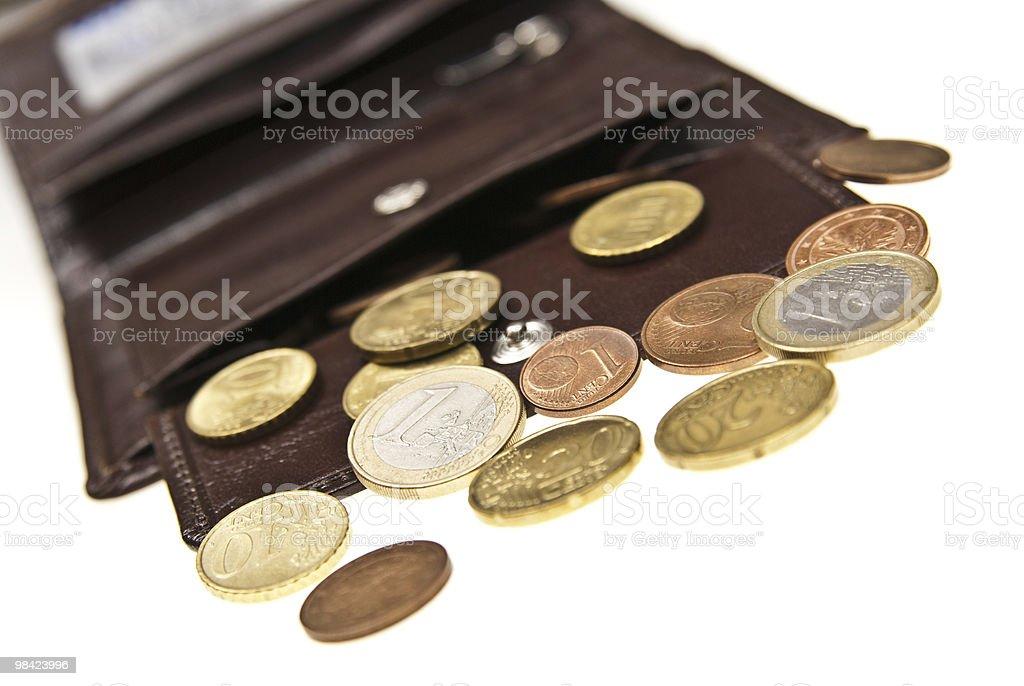 갈색 가죽 지갑 및 동전 royalty-free 스톡 사진