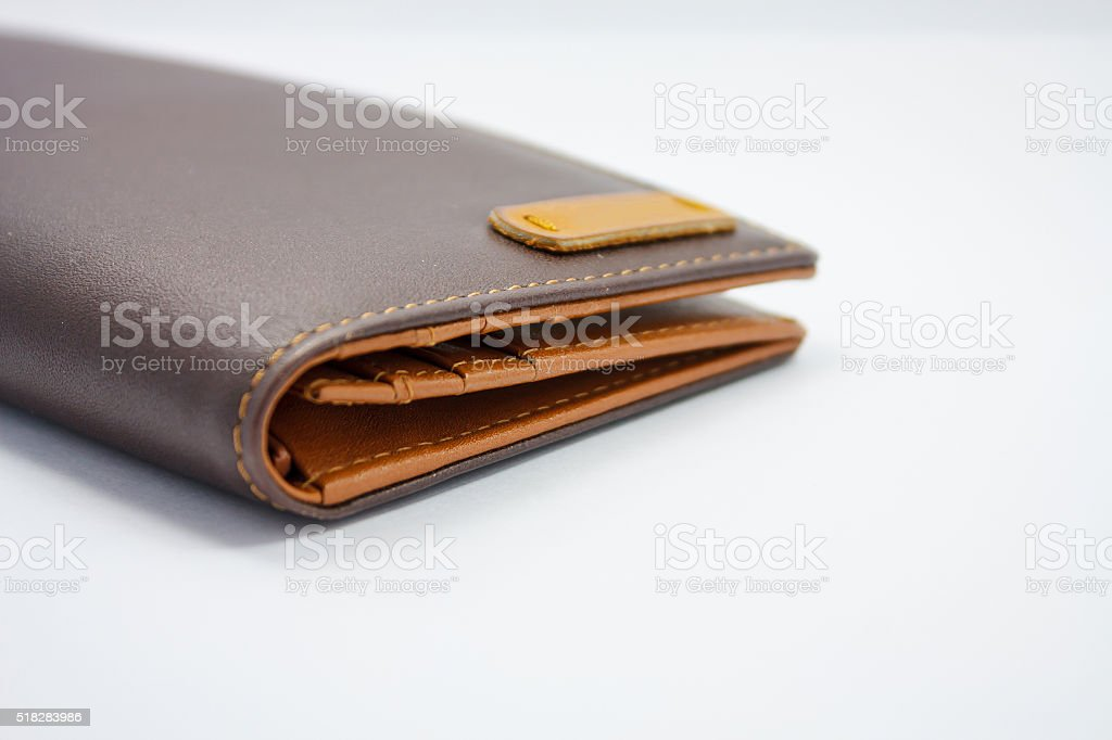 brown leather wallet on white background
