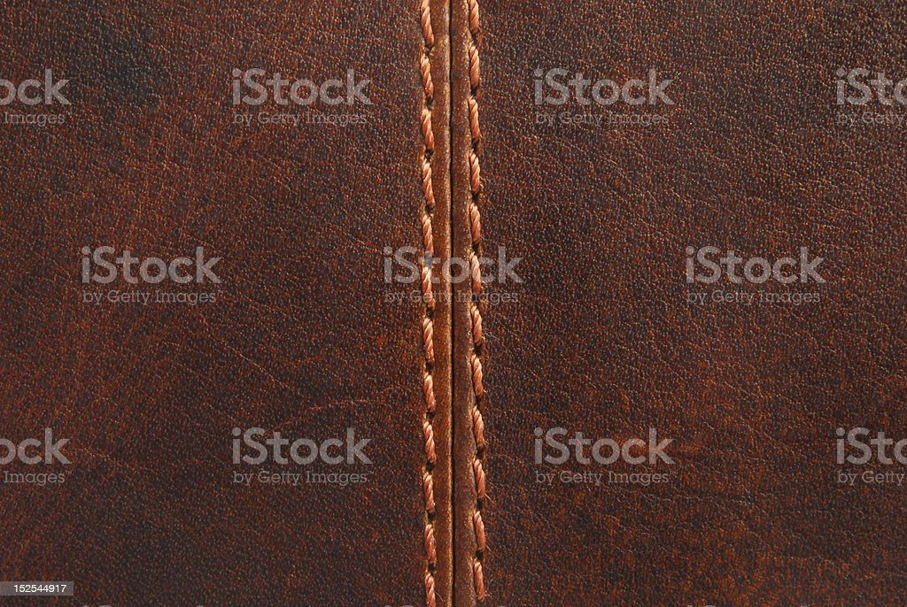 brown leather  with seam texture stock photo