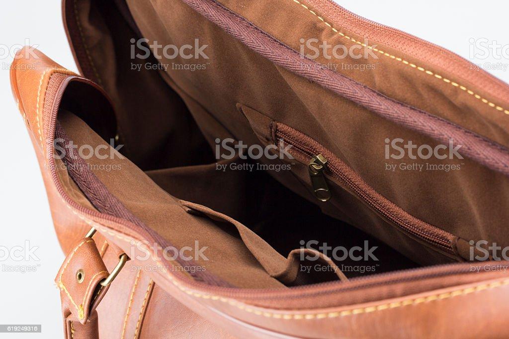 huge discount 8592d ad7ca Braun Lederfrau Tasche Auf Weiß Stockfoto und mehr Bilder ...
