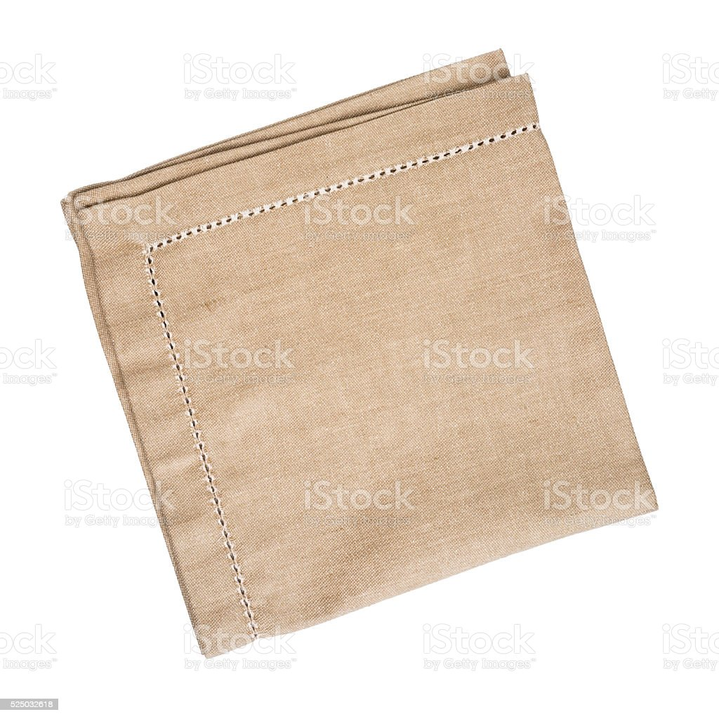 Brown linen napkin isolated on white background stock photo