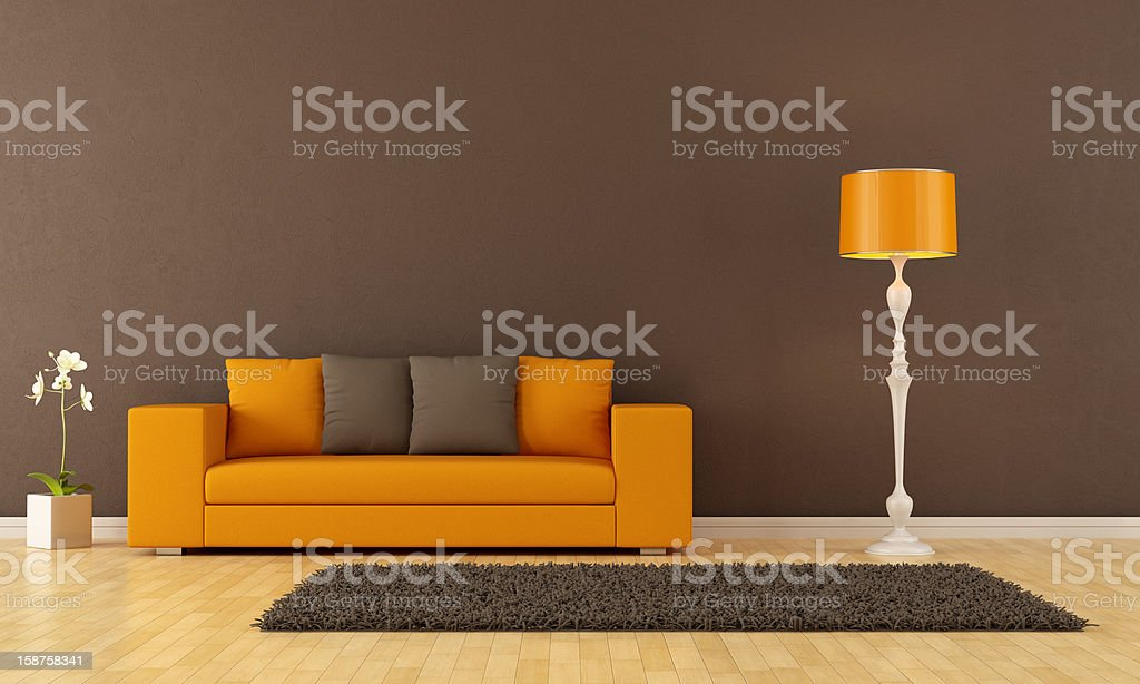 Brown living room stock photo
