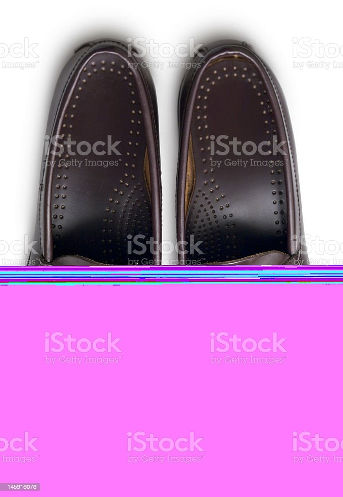 Brown loafers from above stock photo