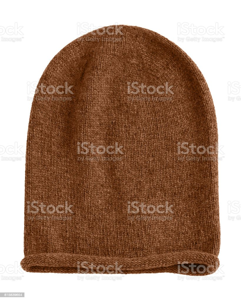 Brown long beannie autumn hat isolated stock photo
