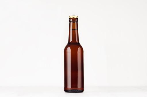 Brown longneck beer bottle 330ml mock up.