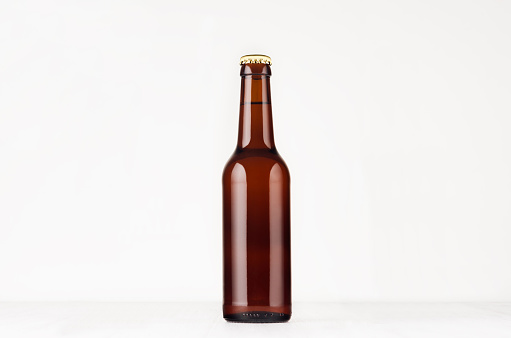 Brown longneck beer bottle 330ml mock up.