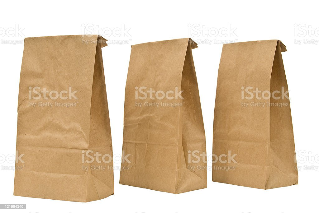 Brown Lunch Bags With Tops Folded royalty-free stock photo