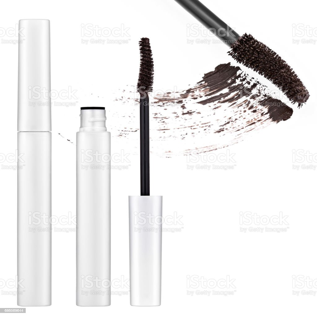 bruine mascara, valse wimpers royalty free stockfoto
