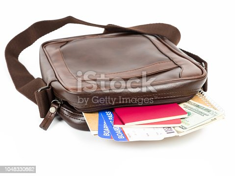 Brown messenger bag with travel document
