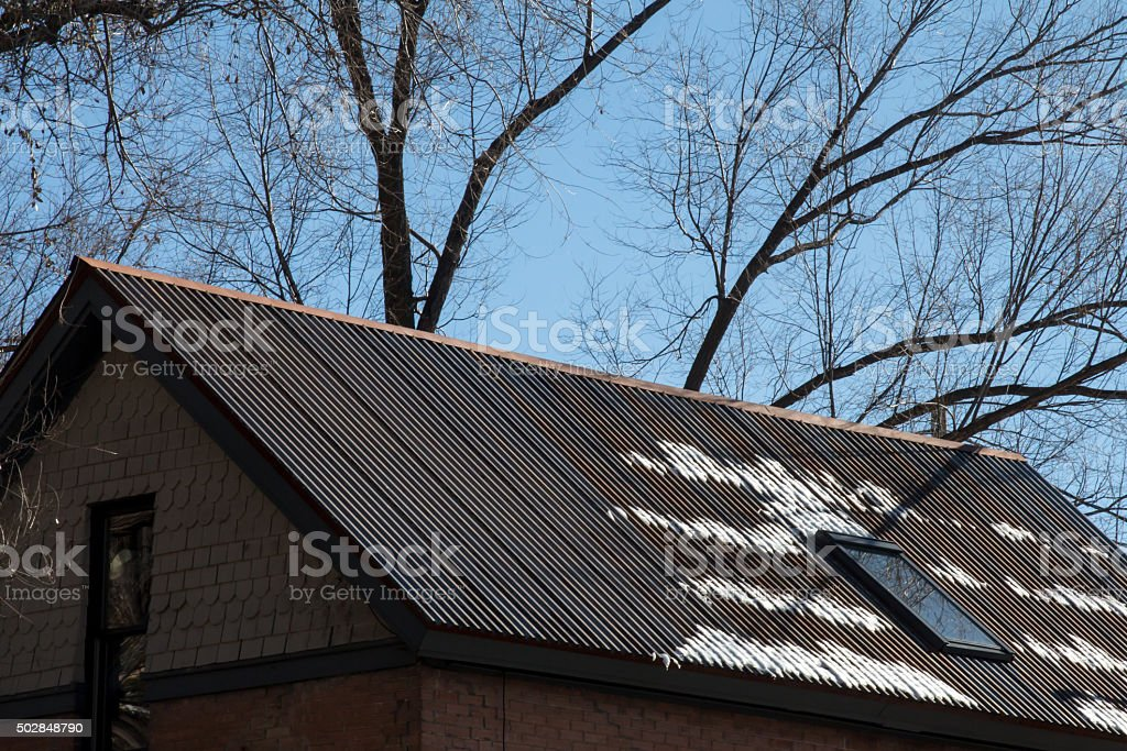 Brown metal roof with snow and bare tree stock photo