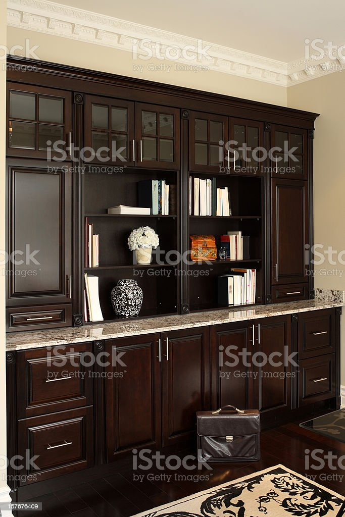 Brown modern living room shelves and cabinets royalty-free stock photo