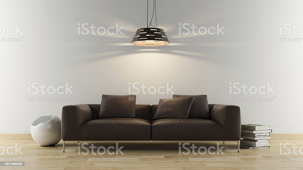 Brown modern sofa stock photo