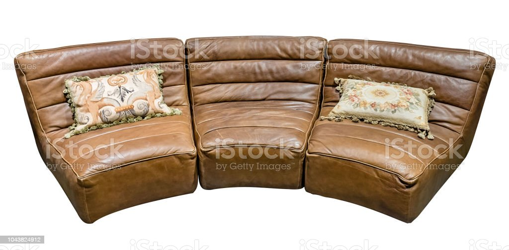 Fine Brown Modular Leather Semicircular Sofa With Tapestry Dailytribune Chair Design For Home Dailytribuneorg
