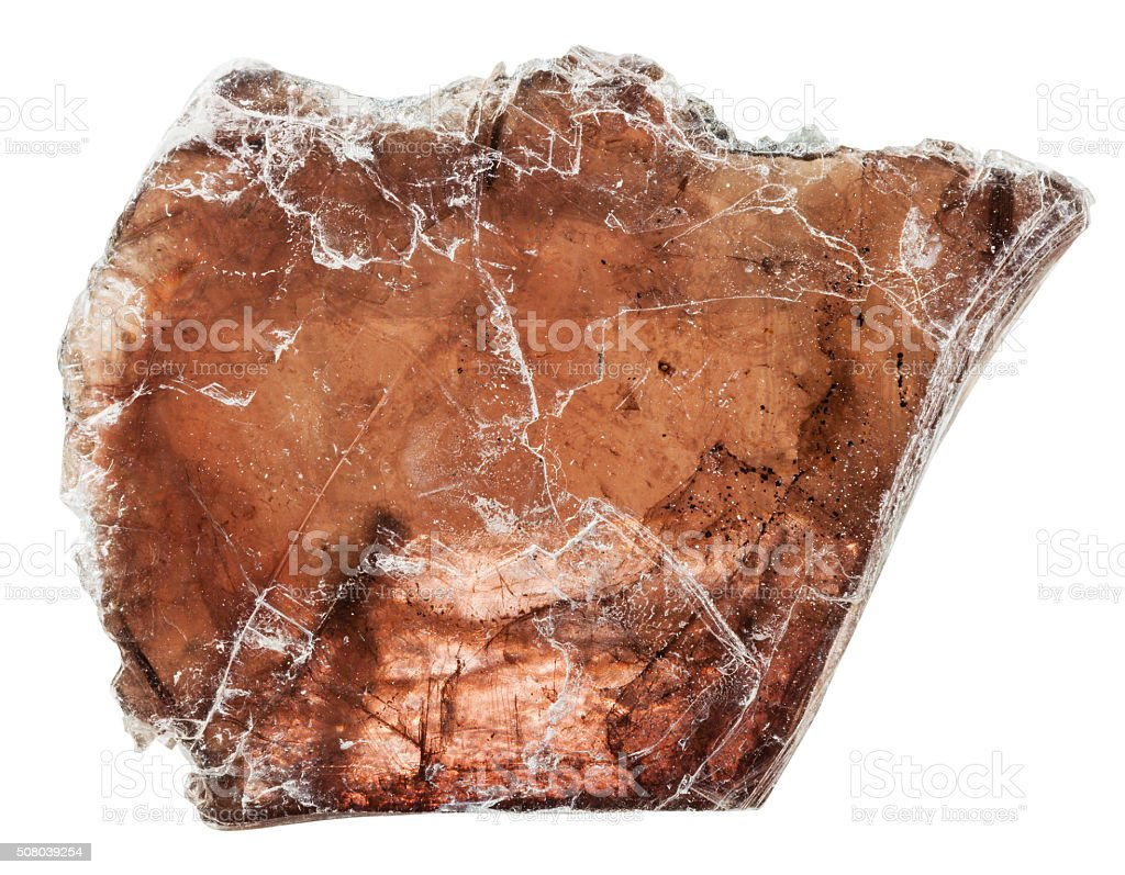 brown muscovite (common mica) mineral stone stock photo
