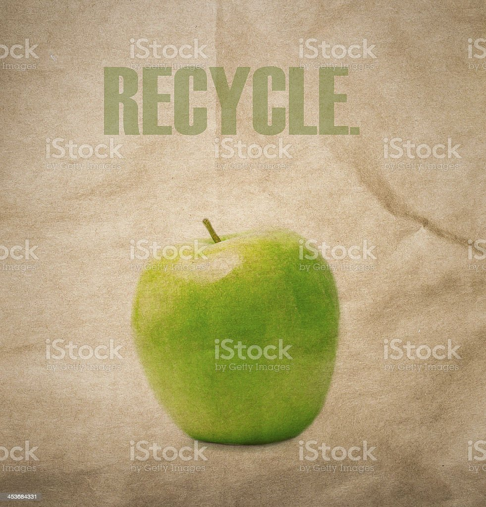 Brown natural recycled paper texture background. Think Green. royalty-free stock photo