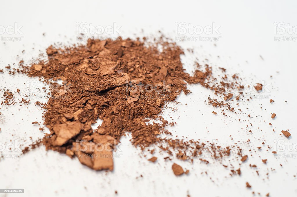 Brown neutral copper makeup powder eyeshadow stock photo