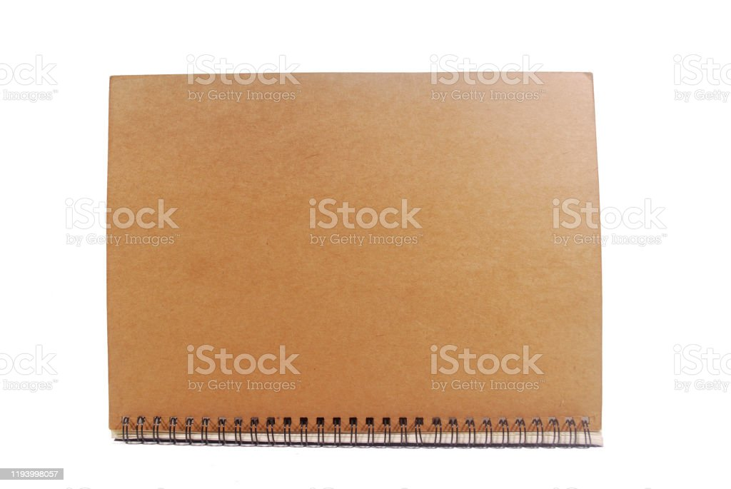 Brown notebook. Wood cover notebook isolated on white background.(with Clipping Path). Advertisement Stock Photo