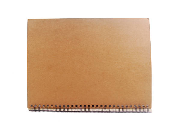Brown notebook. Wood cover notebook isolated on white background.(with Clipping Path). apprise stock pictures, royalty-free photos & images