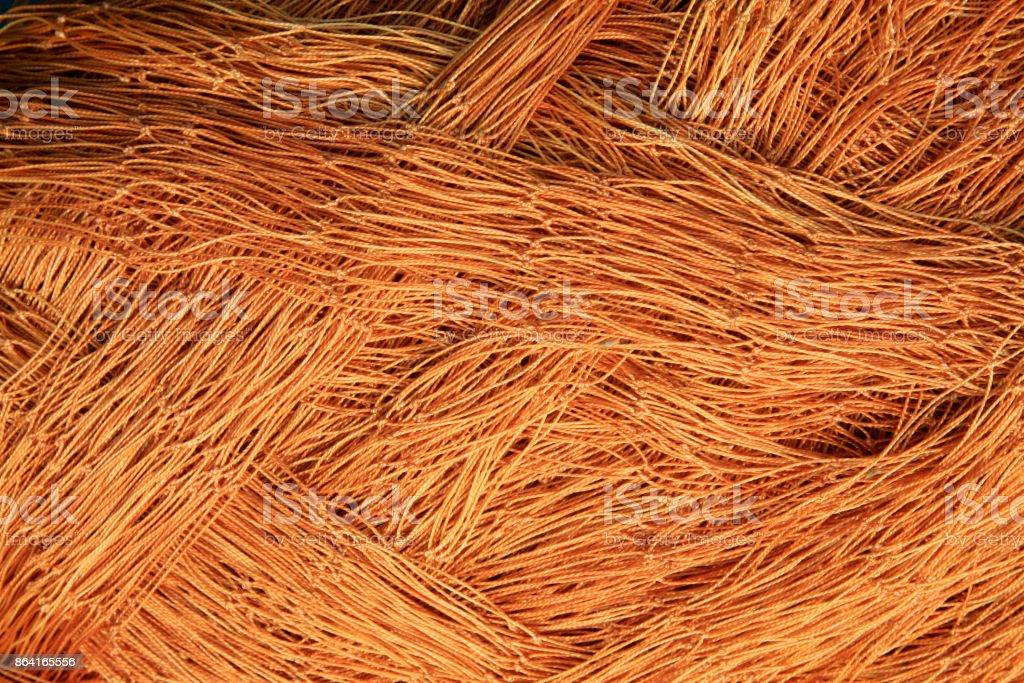 Brown nylon fishing nets, closeup of photo royalty-free stock photo