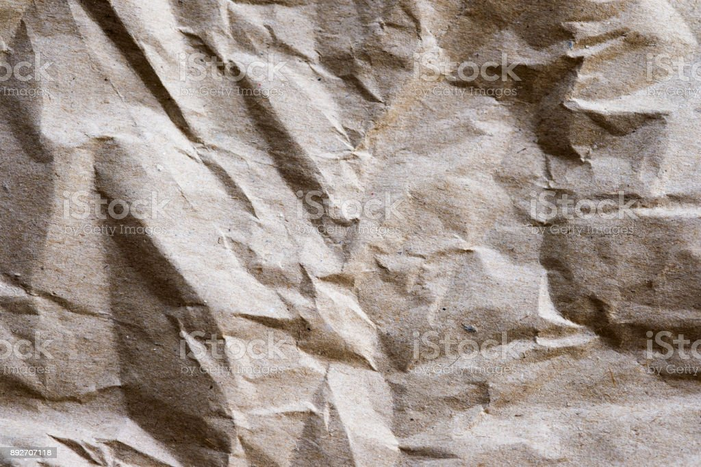 Brown packing paper crumpled recycle texture stock photo