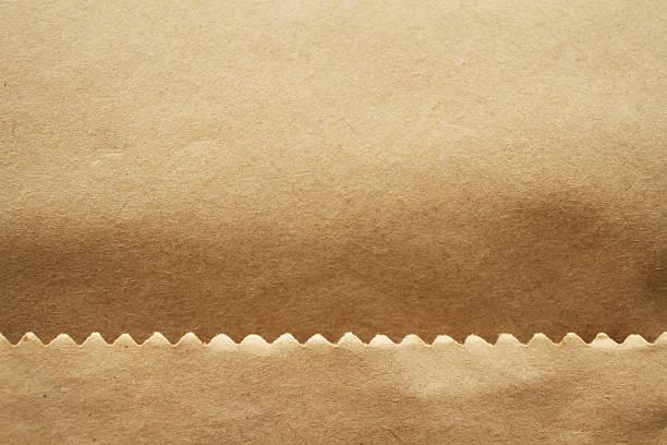 brown paper bag detail stock photo